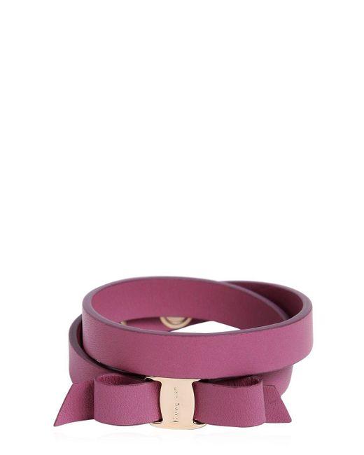 Ferragamo | Purple Doubled Leather Bracelet W/ Bow | Lyst