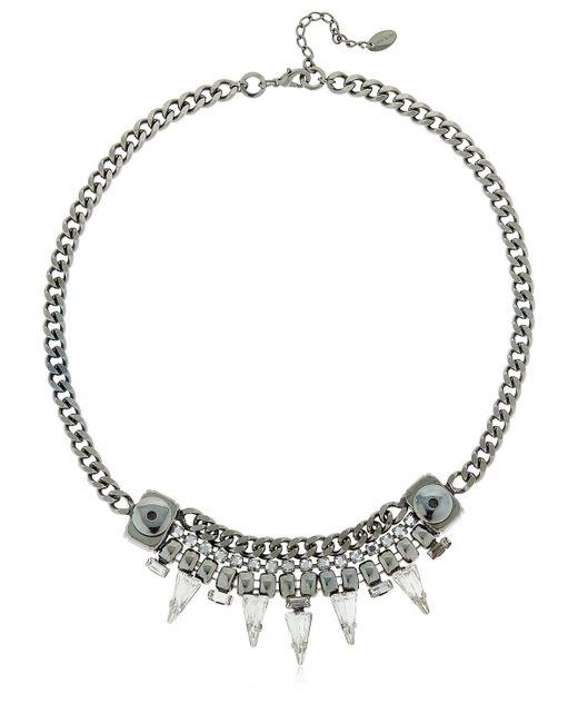 Halo | Metallic Chain Necklace W/ Swarovski Crystals | Lyst