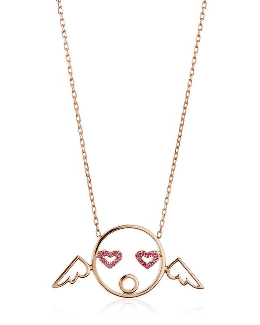 Ruifier | Pink Cupid Pendant Necklace With Diamonds | Lyst