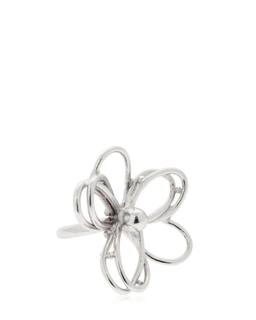 Oscar de la Renta - Metallic Botanical Scribble Flower Ring - Lyst