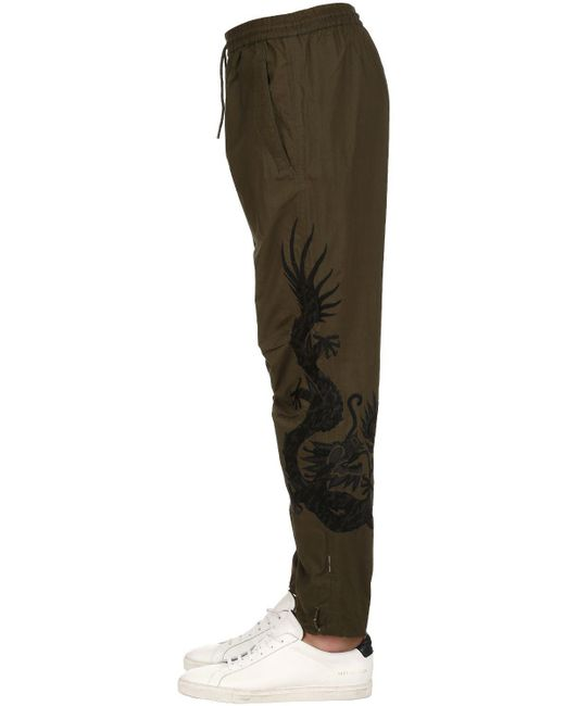 Maharishi - Green 19cm Embroidered Cotton Biker Pants for Men - Lyst