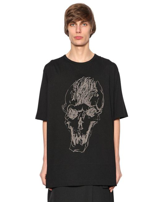 Yohji Yamamoto | Black Printed Skull Cotton Jersey T-shirt for Men | Lyst
