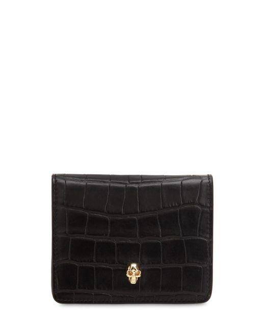Alexander McQueen - Black Small Croc Embossed Leather Coin Wallet - Lyst