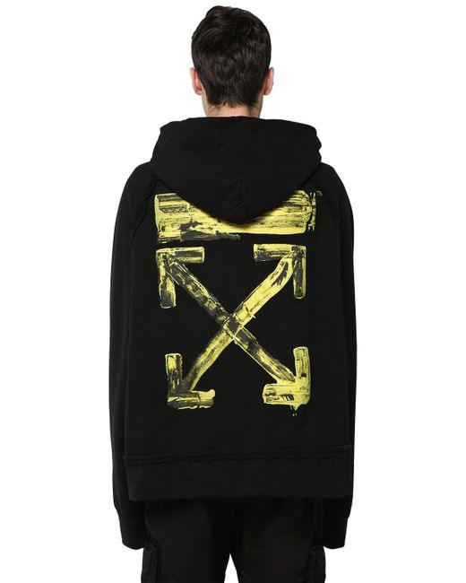 Off-White c/o Virgil Abloh Black Oversize Printed Cotton Jersey Hoodie for men
