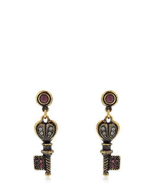 Alcozer & J - Metallic Agata Key Earrings - Lyst