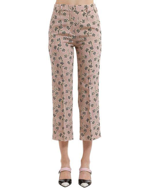 Prada - Multicolor Mimosa Printed Silk Crepe De Chine Pants - Lyst