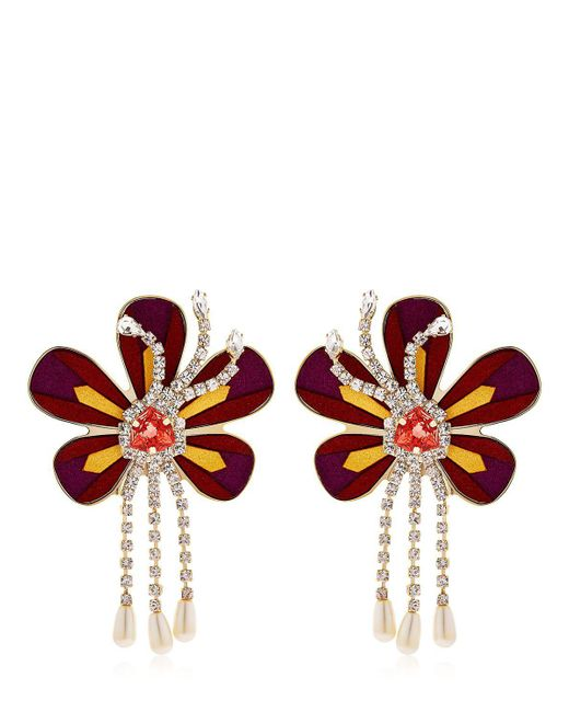 Shourouk | Metallic Alcantara Flower Earrings | Lyst