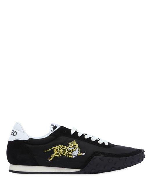 KENZO - Black K-run Nylon & Suede Running Sneakers for Men - Lyst