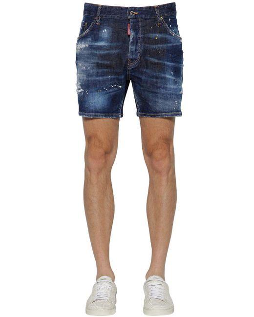 """DSquared² - Blue Shorts """"commando"""" De Denim De Algodón 16.5cm for Men - Lyst"""