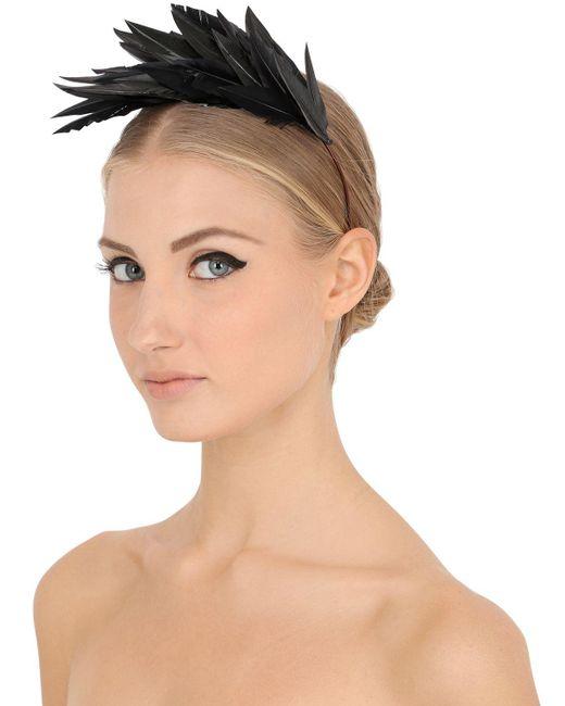 Nanà Firenze - Black Feather Headband - Lyst