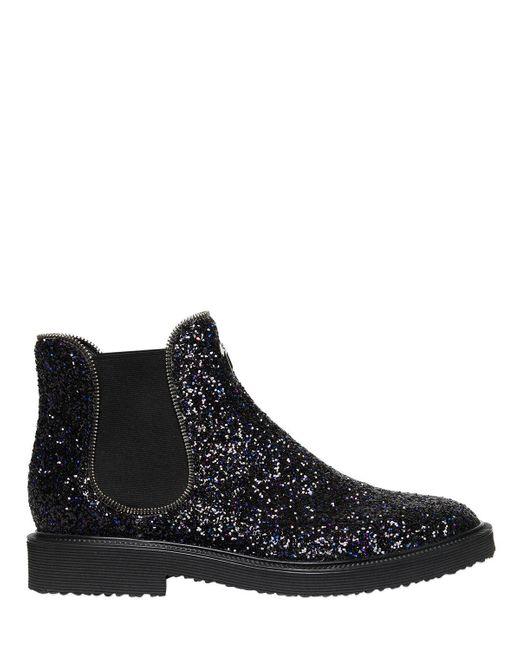 Giuseppe Zanotti - Black Glittered Chelsea Boots With Zipper Trim for Men - Lyst