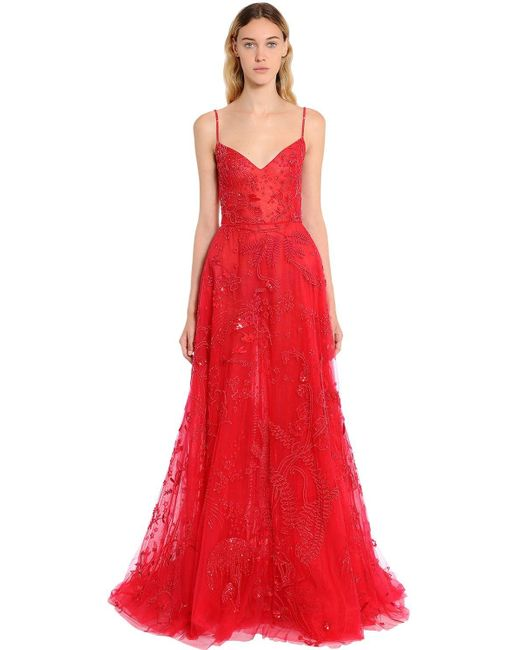 Zuhair Murad Red Beaded Tulle Floral Gown