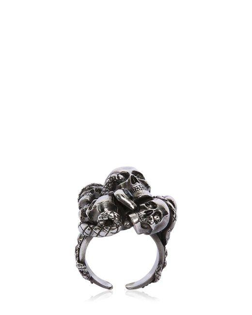 Alexander McQueen - Metallic Multi Skull & Snake Ring for Men - Lyst
