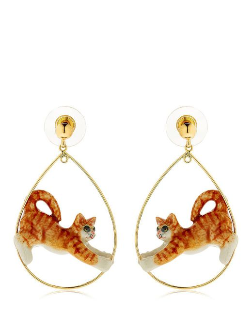 Nach | Orange Ginger Stretching Cat Earrings | Lyst