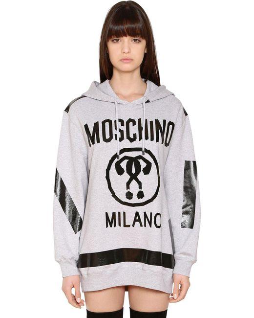 Moschino   Gray Hooded Logo Sweatshirt Dress   Lyst