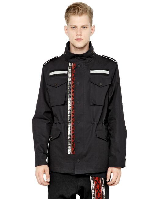 Ports 1961 - Black Tapestry Band Bonded Cotton Field Jacket for Men - Lyst
