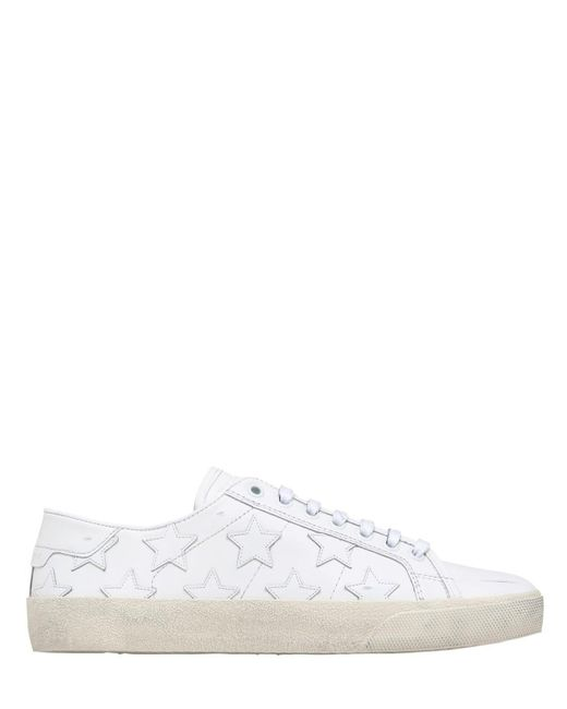 Saint Laurent - White 10mm Court Classic Star Leather Sneakers - Lyst