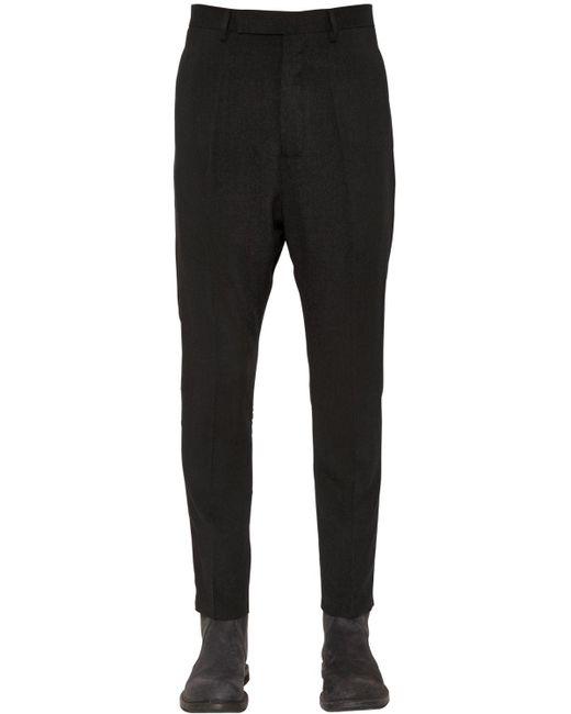 Rick Owens | Black Wool & Silk Canvas Pants for Men | Lyst