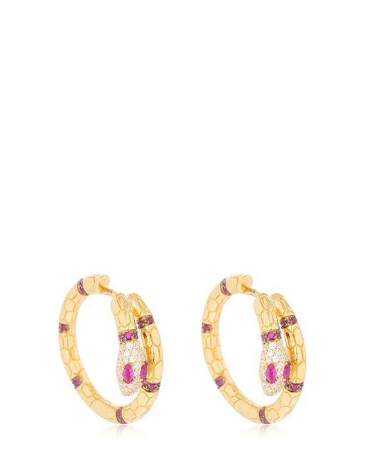 Apm Monaco - Metallic Uraeus Hoop Earrings With Ruby - Lyst