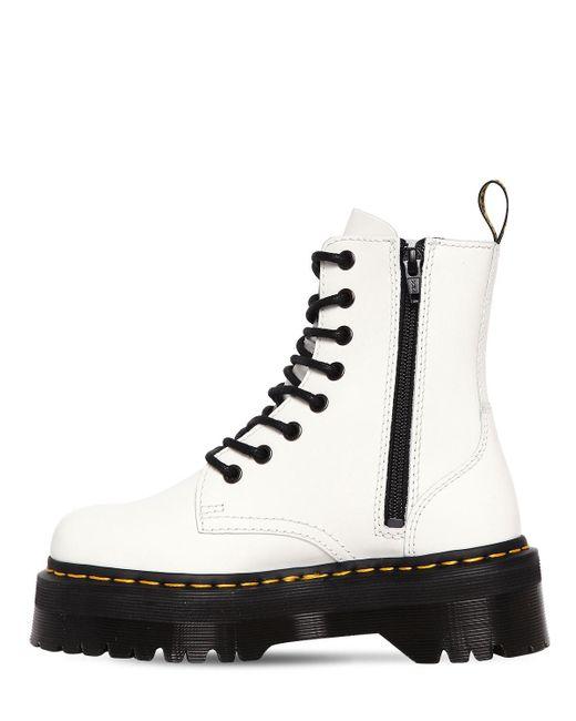 df4fe337380c ... Dr. Martens - White 40mm Jadon Leather Boots - Lyst ...