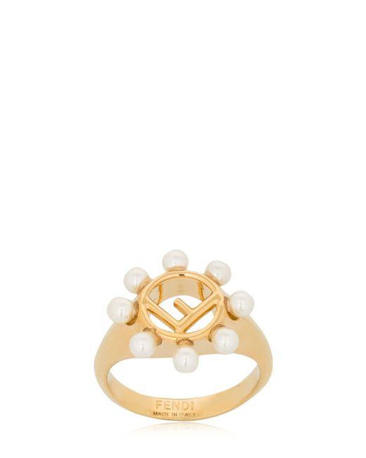 Fendi - Metallic Imitation Pearl Ring - Lyst
