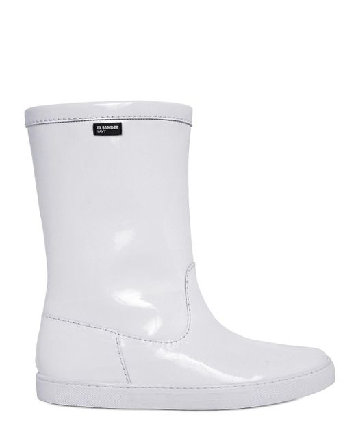 Jil Sander Navy - White 10mm Patent Leather Sneaker Boots - Lyst