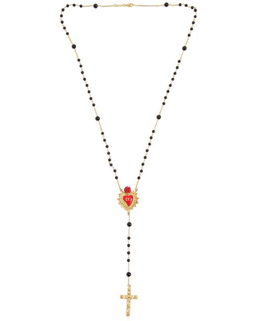Dolce & Gabbana | Metallic Rose & Heart Rosary Necklace | Lyst