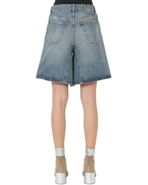10f63708472 ... MM6 by Maison Martin Margiela - Blue Dirty Wash Cotton Denim Wide Leg  Shorts - Lyst