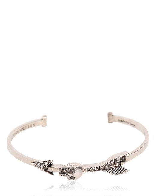 Alexander McQueen | Metallic Skulls & Arrows Bracelet W/ Swarovski | Lyst