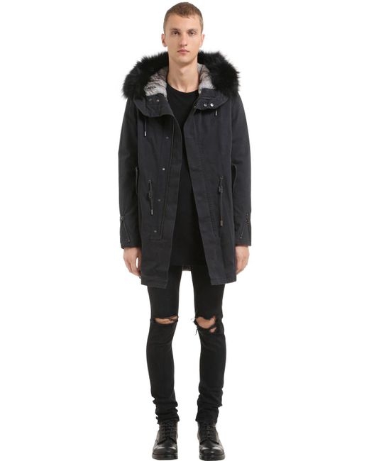 FITTED CANVAS PARKA W/ FUR TRIM & LINING Latest For Sale Cool cMuHLgkw94