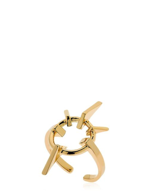 Schield | Metallic Geometrical Love Brass Ring | Lyst
