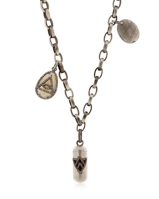 Jade Jagger | Metallic Silver & Diamond Necklace With Charms | Lyst