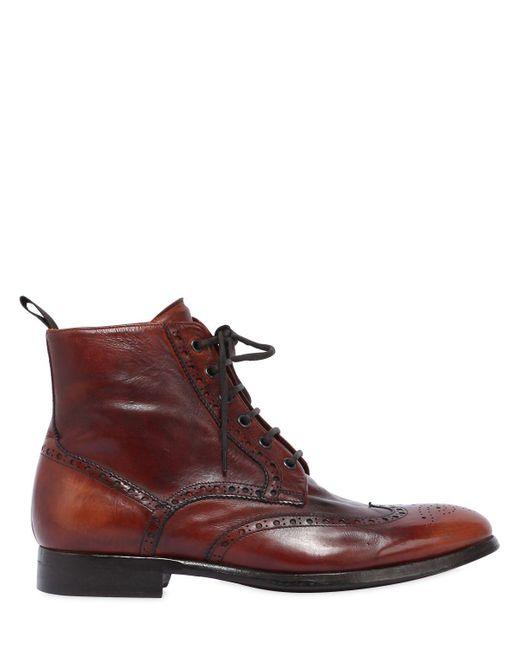 Rolando Sturlini - Brown Wing Tip Washed Leather Boots for Men - Lyst