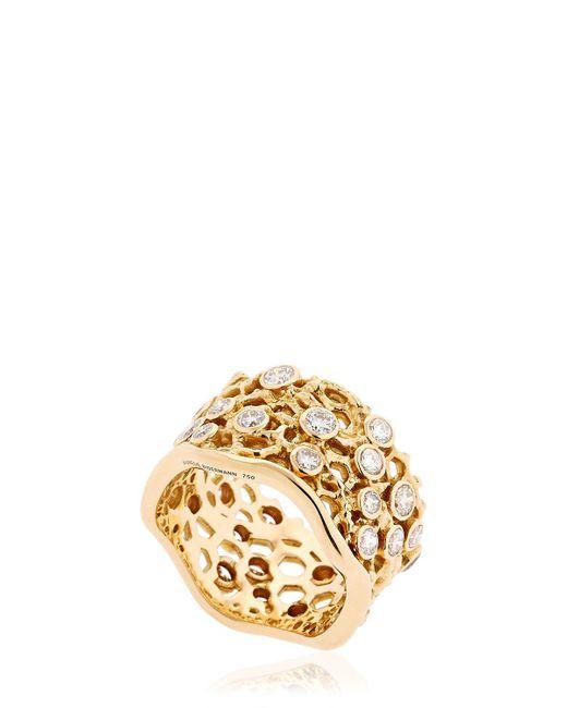 "Aurelie Bidermann | Metallic Anello ""dentelle"" In Oro Con Diamanti | Lyst"