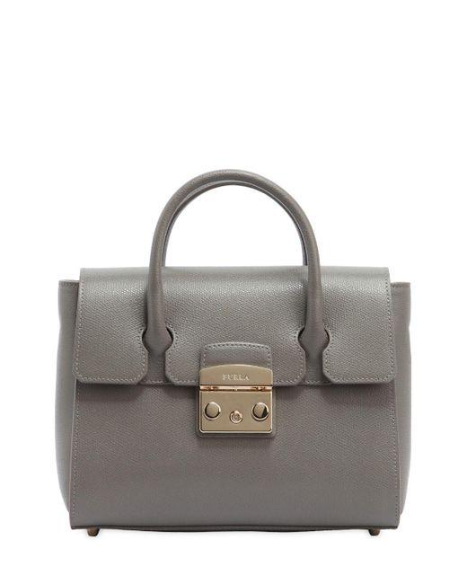 Furla | Gray Small Metropolis Leather Tote Bag | Lyst