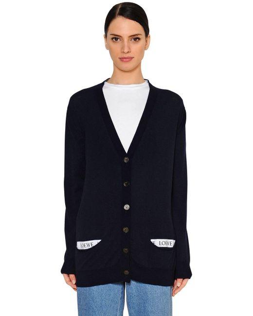 Loewe - Blue Logo Details Wool Knit Cardigan - Lyst