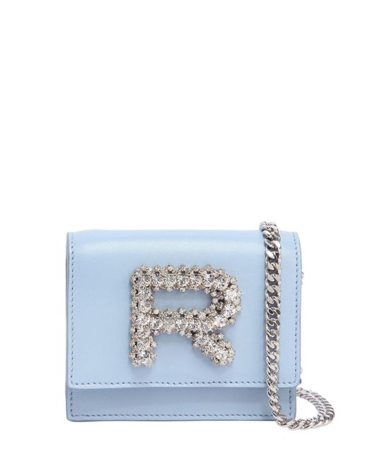 Rochas | Blue Leather Bag W/ Crystal Logo | Lyst