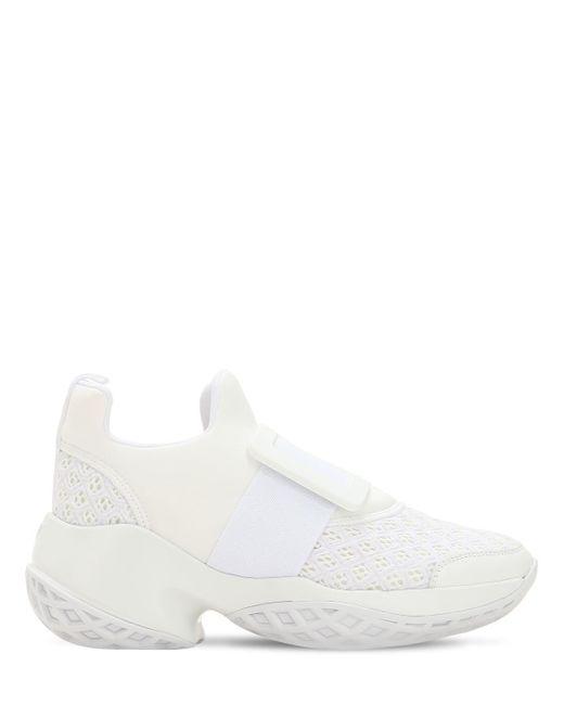 Roger Vivier - White 75mm Viv Run Buckle Mesh Sneakers - Lyst