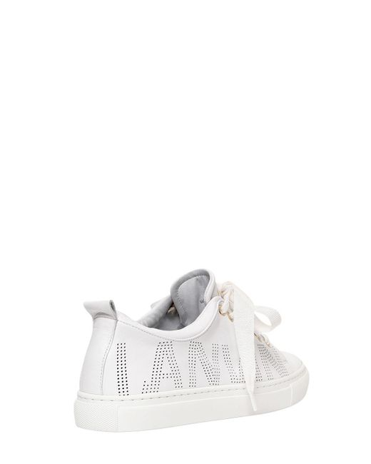 Lanvin 20MM PERFORATED LOGO LEATHER SNEAKERS F4KGem8R