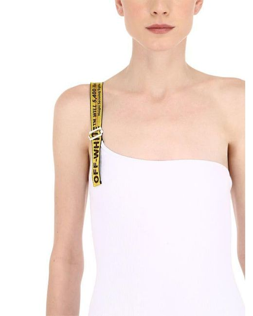 0ef8aca67a ... Off-White c/o Virgil Abloh - White One Shoulder Logo Embossed Swimsuit  ...