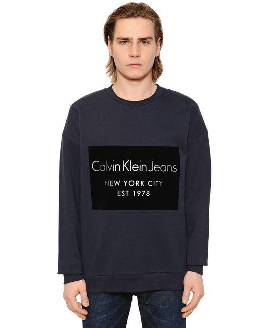 Calvin Klein Jeans | Blue Logo Flocked Cotton Sweatshirt for Men | Lyst