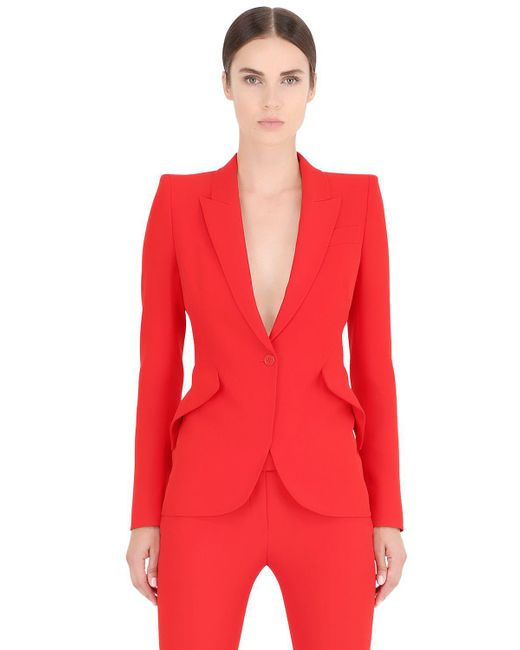 Alexander McQueen | Red One Button Leaf Crepe Jacket | Lyst