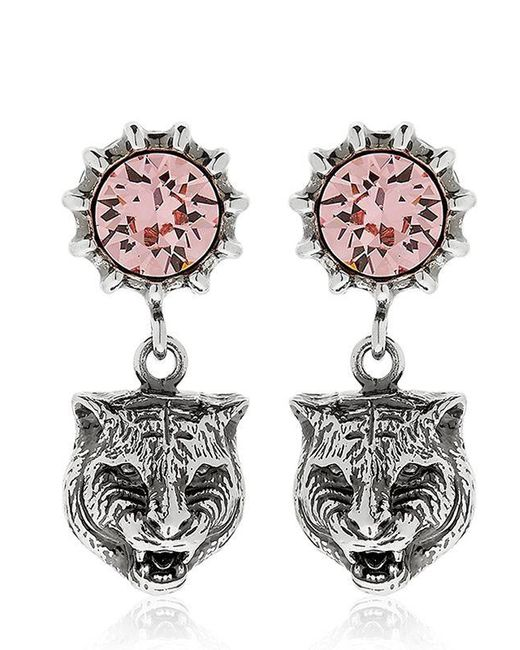 Gucci | Pink Angry Cat Head & Crystal Earrings | Lyst