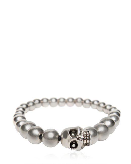 Alexander McQueen - Metallic Skull Silver Finish Ball Bracelet - Lyst