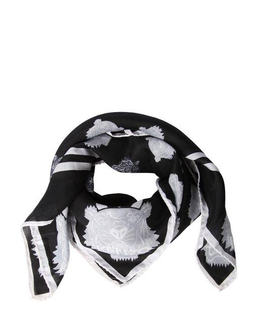 KENZO - Black Tiger Print Cotton & Silk Square Scarf - Lyst