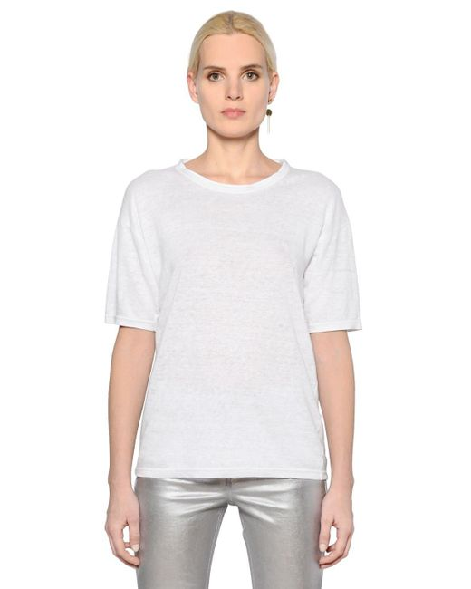 Lyst toile isabel marant round neck linen jersey t for Isabel marant t shirt sale