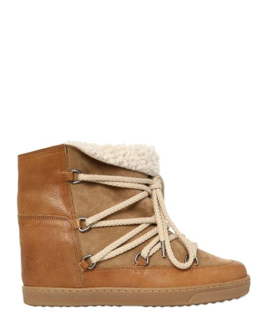 Isabel Marant   Black Etoile 70mm Nowles Suede Shearling Boots   Lyst