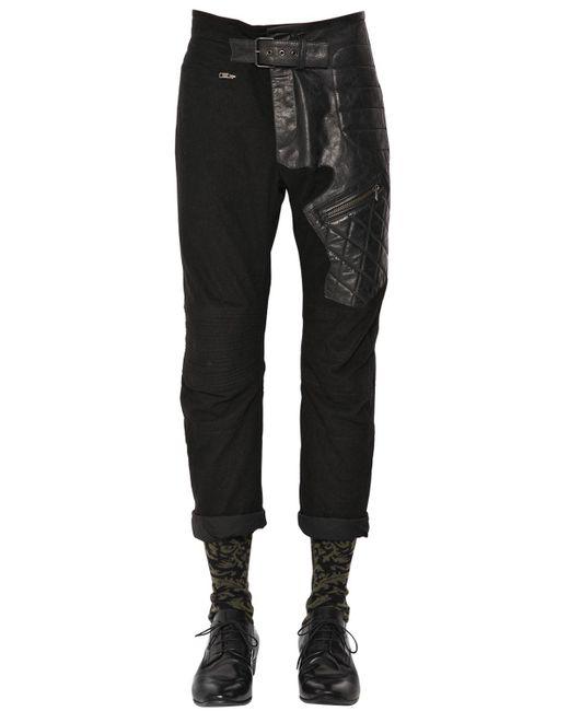 Haider Ackermann | Black Slim Cotton & Leather Biker Pants for Men | Lyst