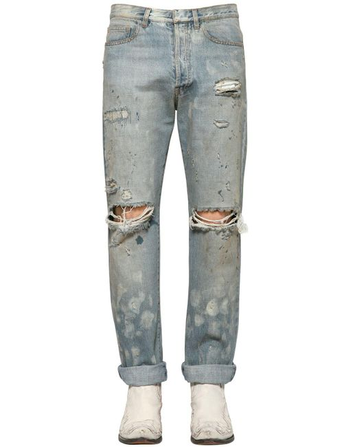 Faith Connexion | Blue 16cm Distressed Cotton Denim Jeans | Lyst