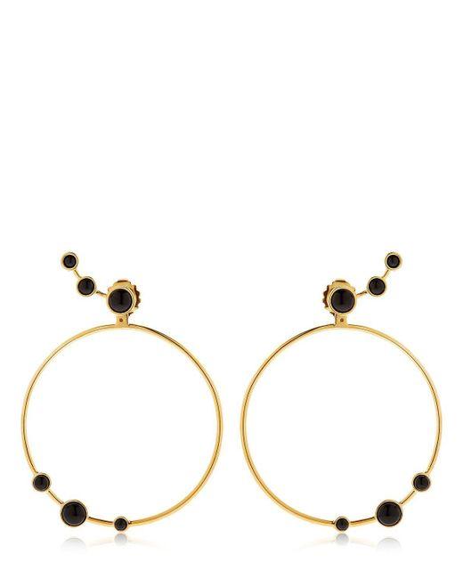 Eshvi | Metallic Lava Onyx Circle Earrings | Lyst